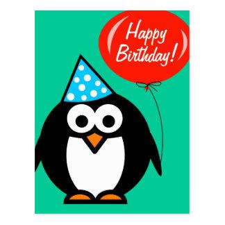 Pingüino de la postal el | del feliz cumpleaños