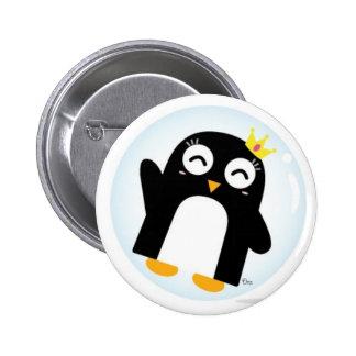 pingüino de la princesa en botón de la burbuja pin