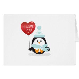 ¡Pingüino de la tarjeta del día de San Valentín!