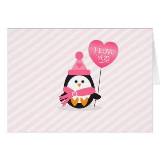 Pingüino de la tarjeta del día de San Valentín