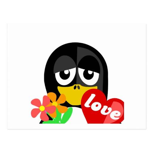 Pingüino de la tarjeta del día de San Valentín Tarjetas Postales