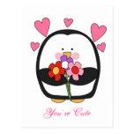 Pingüino de la tarjeta del día de San Valentín Tarjeta Postal