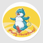 Pingüino de las Felices Navidad Etiqueta Redonda