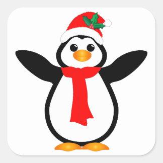 Pingüino de las felices Navidad Calcomania Cuadradas Personalizada