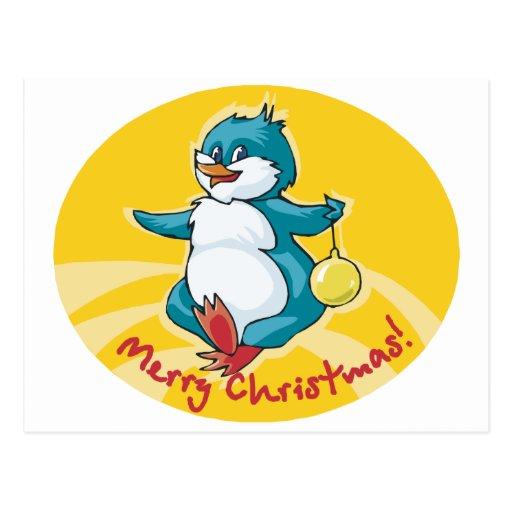 Pingüino de las Felices Navidad Postales