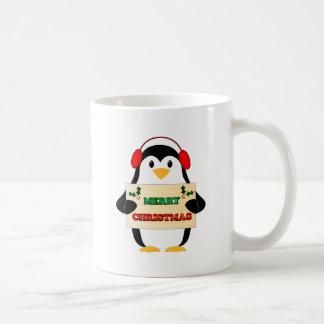 Pingüino de las Felices Navidad Tazas De Café