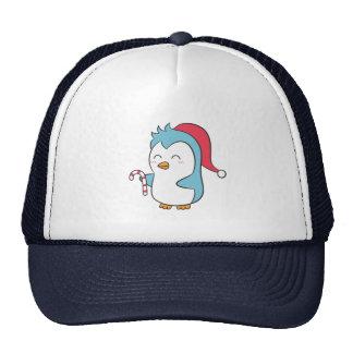 Pingüino de las Navidad lindas y felices con el ba Gorras De Camionero