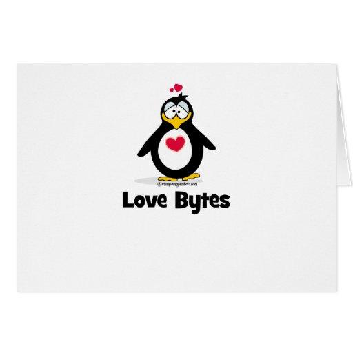 Pingüino de los octetos del amor tarjeta de felicitación