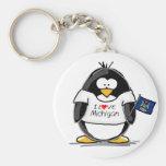 Pingüino de Michigan Llavero Redondo Tipo Pin