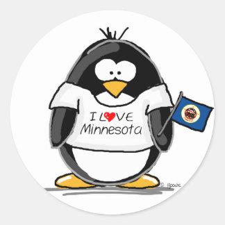 Pingüino de Minnesota Pegatina Redonda