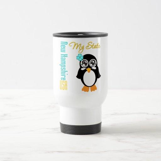 Pingüino de New Hampshire los E.E.U.U. Taza De Viaje De Acero Inoxidable