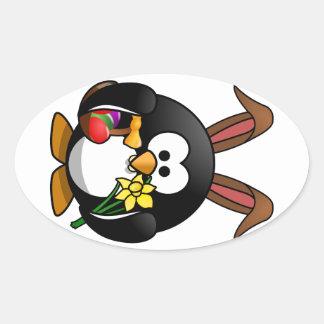 Pingüino de Pascua Calcomania De Oval