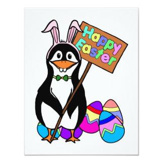 Pingüino de Pascua con los huevos coloreados Invitación 10,8 X 13,9 Cm