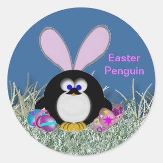 Pingüino de Pascua Pegatina Redonda
