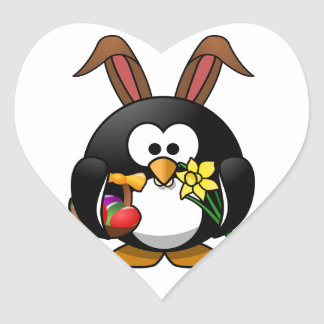 Pingüino de Pascua Calcomanías De Corazones Personalizadas