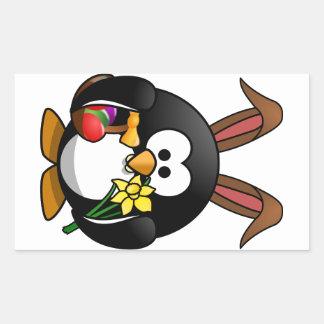 Pingüino de Pascua Rectangular Pegatinas