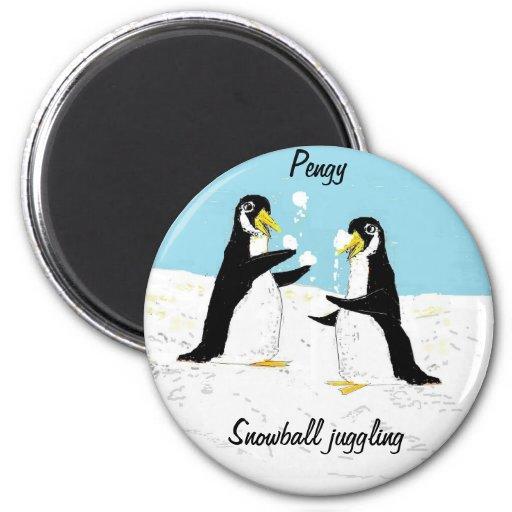 Pingüino de Pengy, el hacer juegos malabares de la Iman