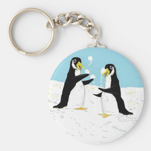 Pingüino de Pengy, el hacer juegos malabares de la Llavero Redondo Tipo Pin