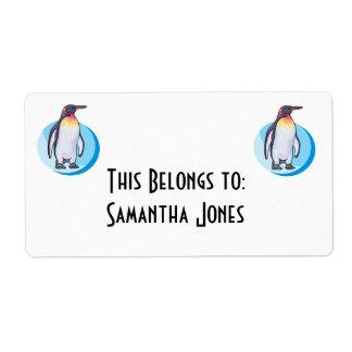 pingüino de rey etiqueta de envío