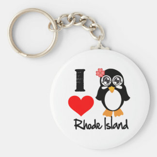 Pingüino de Rhode Island - amor Rhode Island de I Llavero Personalizado