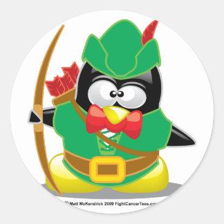 Pingüino de Robin Hood Pegatina Redonda