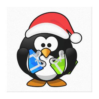 Pingüino de Santa con los presentes Impresiones En Lienzo Estiradas