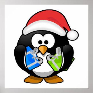 Pingüino de Santa con los presentes Posters
