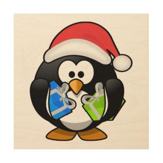 Pingüino de Santa con los presentes Cuadros De Madera