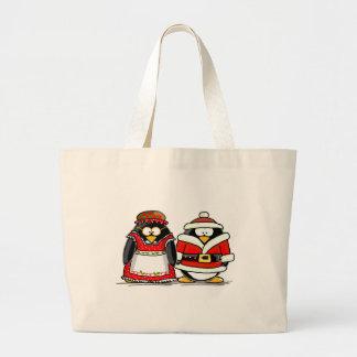 Pingüino de Sr. y de señora Papá Noel Bolsa De Mano