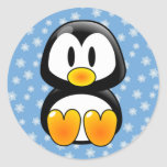 Pingüino de Tux del navidad Pegatina Redonda