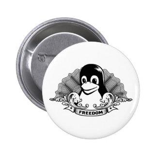 Pingüino de Tux - (Linux, Open Source, Copyleft, F Pin Redondo 5 Cm