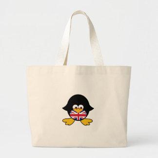 Pingüino de Union Jack Bolsa Tela Grande