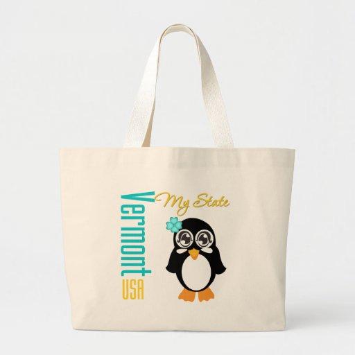 Pingüino de Vermont los E.E.U.U. Bolsa Tela Grande