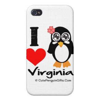 Pingüino de Virginia - amor Virginia de I iPhone 4 Protectores