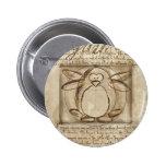 Pingüino de Vitruvian Pin Redondo De 2 Pulgadas