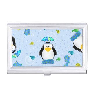 Pingüino de Wellies de la lluvia Caja De Tarjetas De Visita