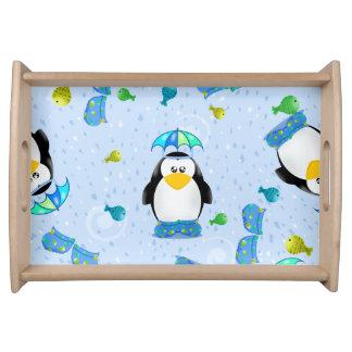 Pingüino de Wellies de la lluvia Bandejas