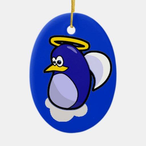 Pingüino del ángel adorno navideño ovalado de cerámica