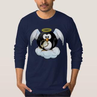 Pingüino del ángel del navidad remeras