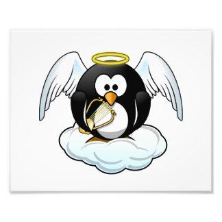 Pingüino del ángel en una nube impresión fotográfica