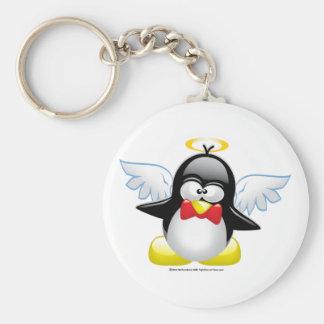 Pingüino del ángel llavero redondo tipo pin
