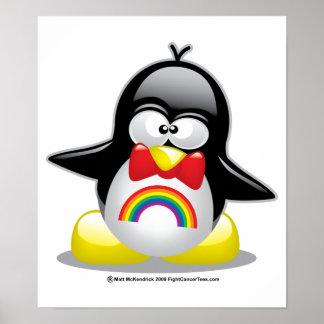 Pingüino del arco iris de LGBT Póster
