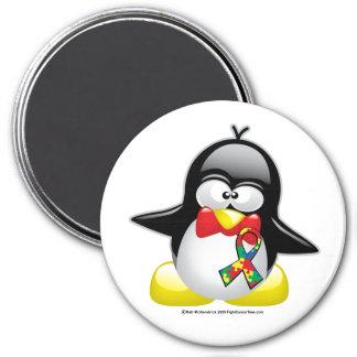 Pingüino del autismo imán redondo 7 cm