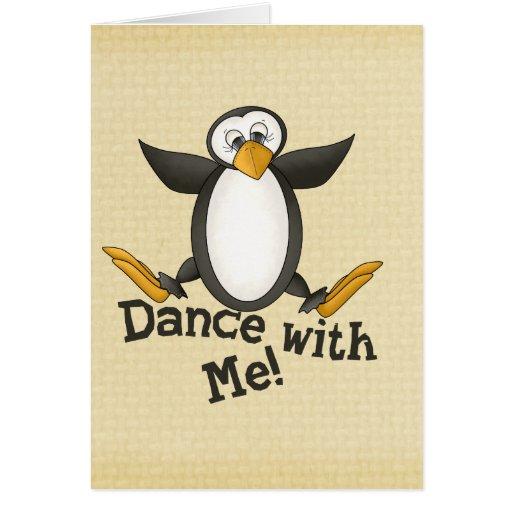 Pingüino del baile tarjeta