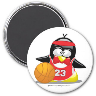Pingüino del baloncesto imán redondo 7 cm