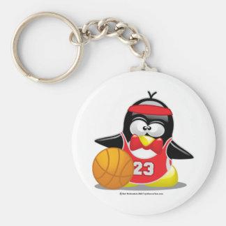 Pingüino del baloncesto llavero redondo tipo pin