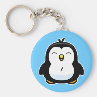 Pingüino del bebé del dibujo animado llavero redondo tipo pin