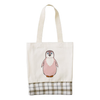 Pingüino del bebé en rosa claro bolsa tote zazzle HEART