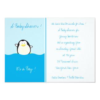 """Pingüino del bebé - invitaciones de la fiesta de invitación 5"""" x 7"""""""