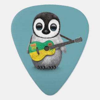 Pingüino del bebé que juega el azul de la guitarra plectro